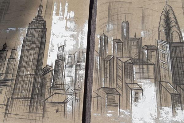 anonyme Manhattan diptyque technique mixte sur toile 1,2mX1mx2